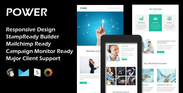 POWER – Multipurpose Responsive Email Template + Stamp Ready Builder