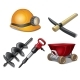 Five Tools of Miner on a White Background