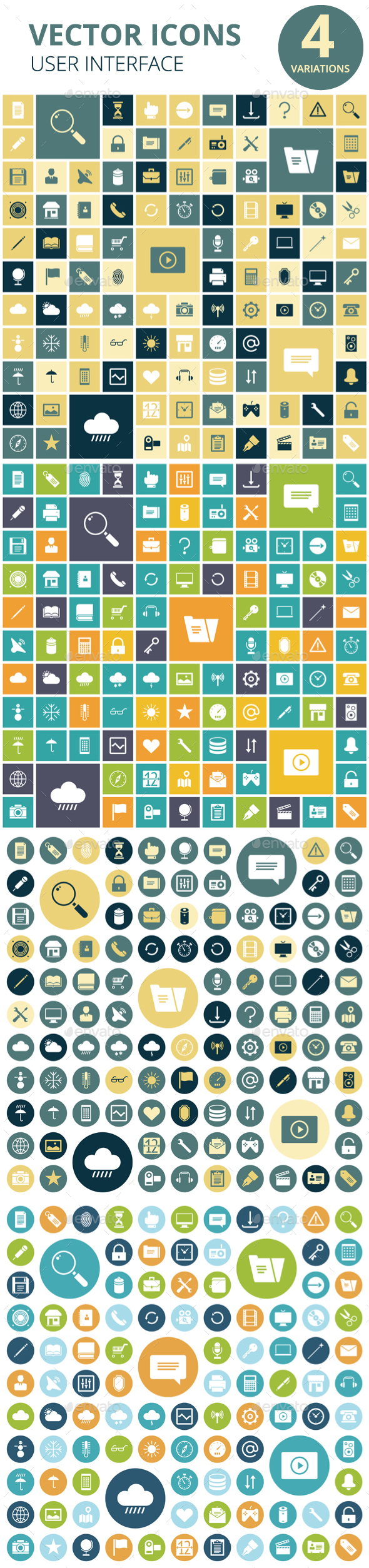 Flat Design Icons for User Interface - Web Icons
