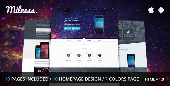 Milness – Showcase Mobile App HTML Template
