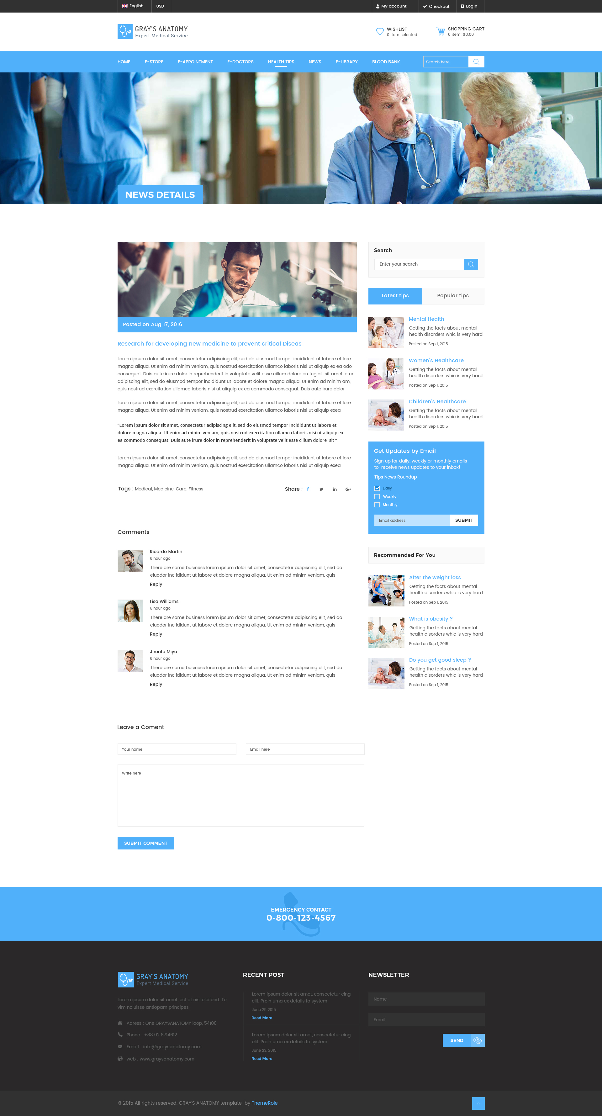 Gray\'s Anatomy - Medical Directory PSD Template by themerole ...