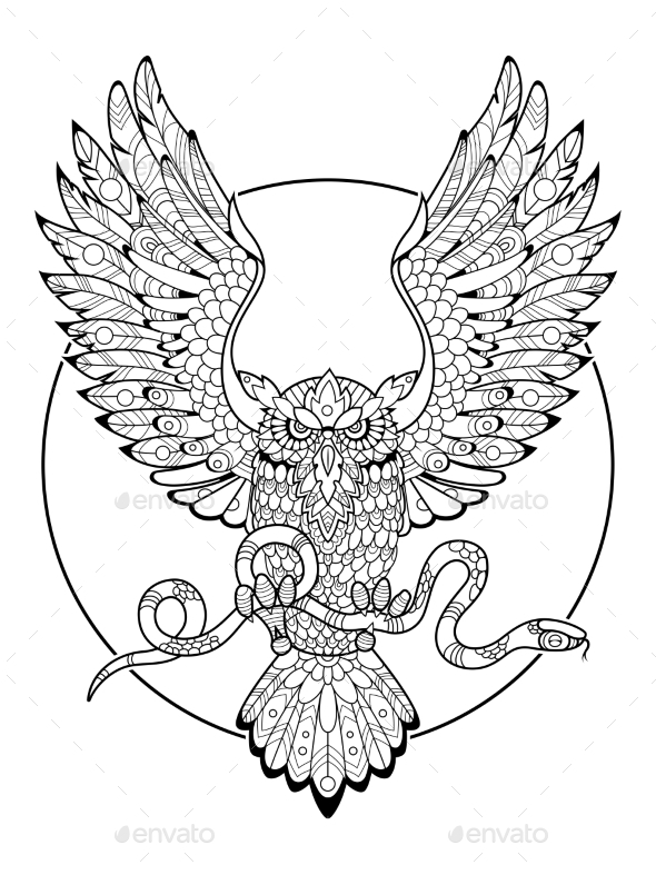 Owl with Snake Coloring Book for Adults Vector by AlexanderPokusay