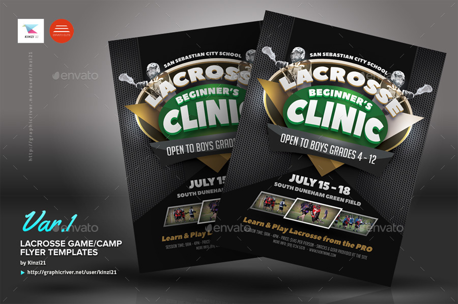 Lacrosse Game Or Camp Flyer Templates By Kinzi  Graphicriver