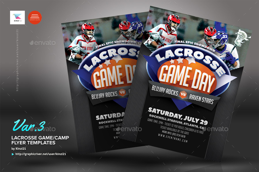 Lacrosse Game Or Camp Flyer Templates By Kinzi21 | Graphicriver