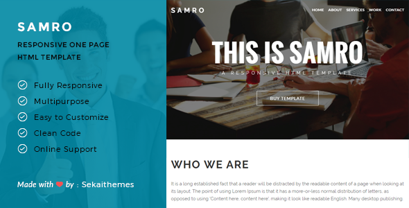Samro – Responsive One Page HTML Template