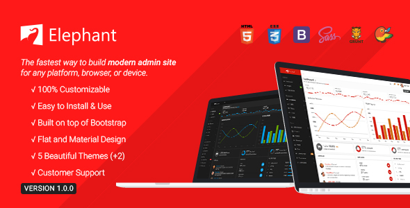 Elephant – Dashboard & Admin Site Responsive Template