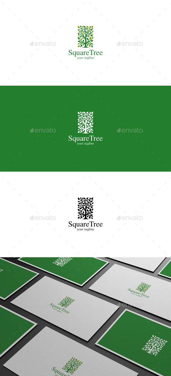 Square Tree Logo - Nature Logo Templates