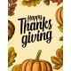 Thanksgiving Day Poster with Leaves and Pumpkin - GraphicRiver Item for Sale