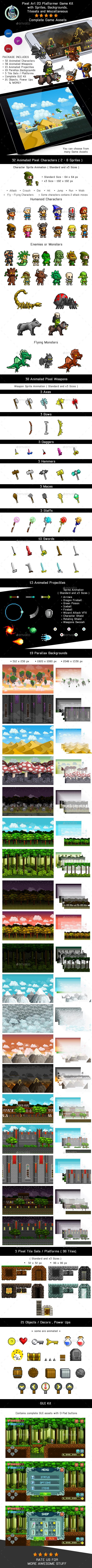 Pixel Art 2D Platformer Video Game Kit Assets - Game Kits Game Assets