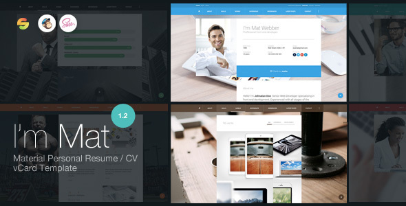I am Mat – Material Personal Resume / CV vCard WordPress Theme