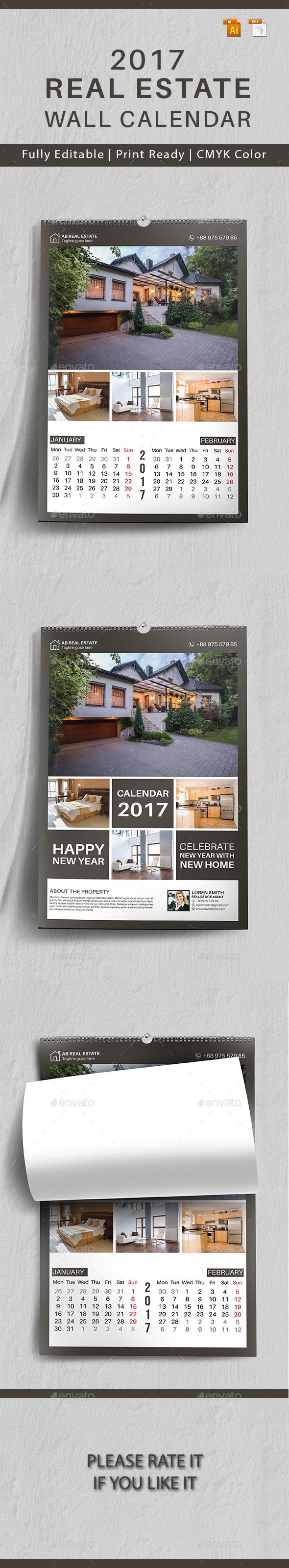 Real Estate Wall Calendar 2017