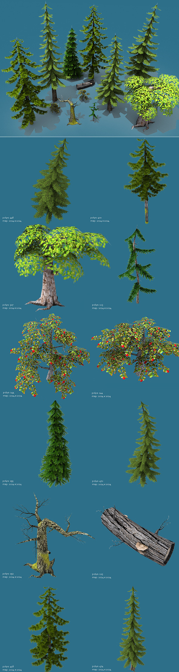 Low Poly Forest Pack (Trees Only)  - 3DOcean Item for Sale
