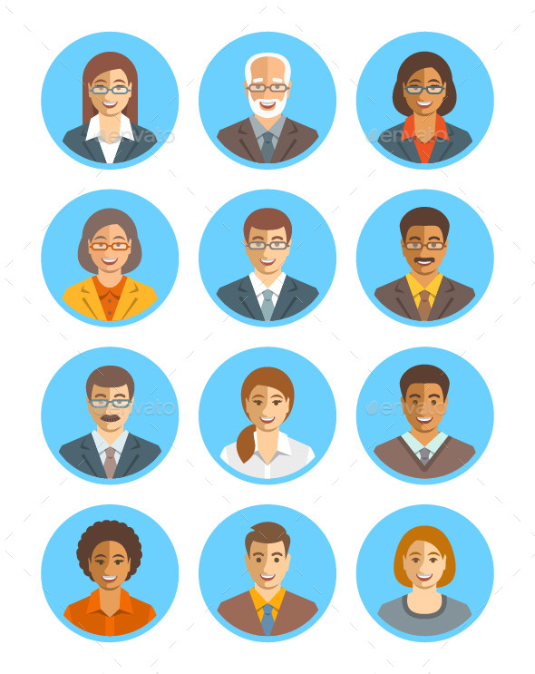 Business People Simple Flat Avatars Set - People Characters