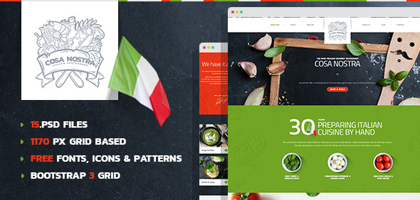 CosaNostra - Italian Restaurant PSD Template - Restaurants & Cafes Entertainment