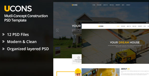 UCONS Multi Concept Construction PSD Template - Business Corporate