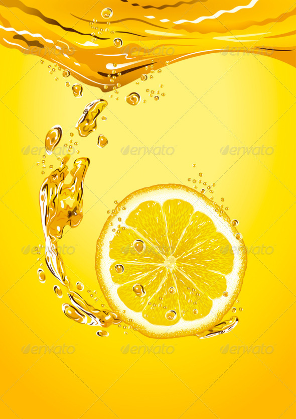 Lemon Slice With Bubbles - Food Objects