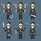 Death Holds Scythe Ax Machete Hourglass