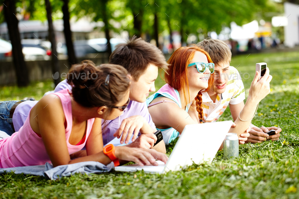 Teenagers resting - Stock Photo - Images