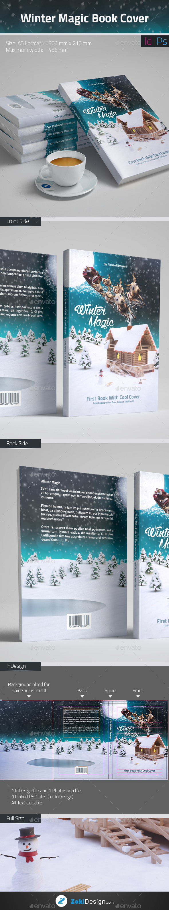 Winter Magic Book Cover Template - Miscellaneous Print Templates
