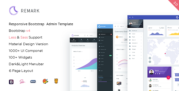 Remark - Responsive Bootstrap 4 Admin Template Screenshot