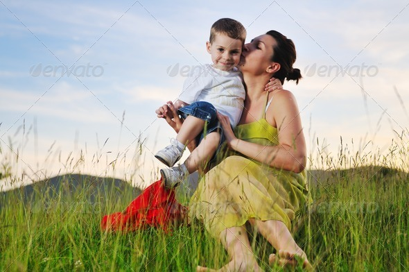 woman child outdoor - Stock Photo - Images