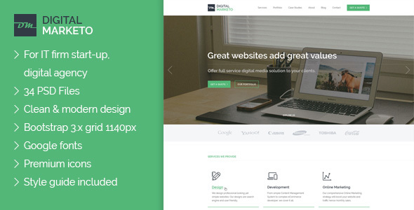 Digital Marketo – Digital Agency PSD Template