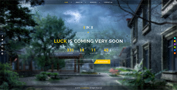 Luck Responsive Coming Soon Page - Under Construction Specialty Pages