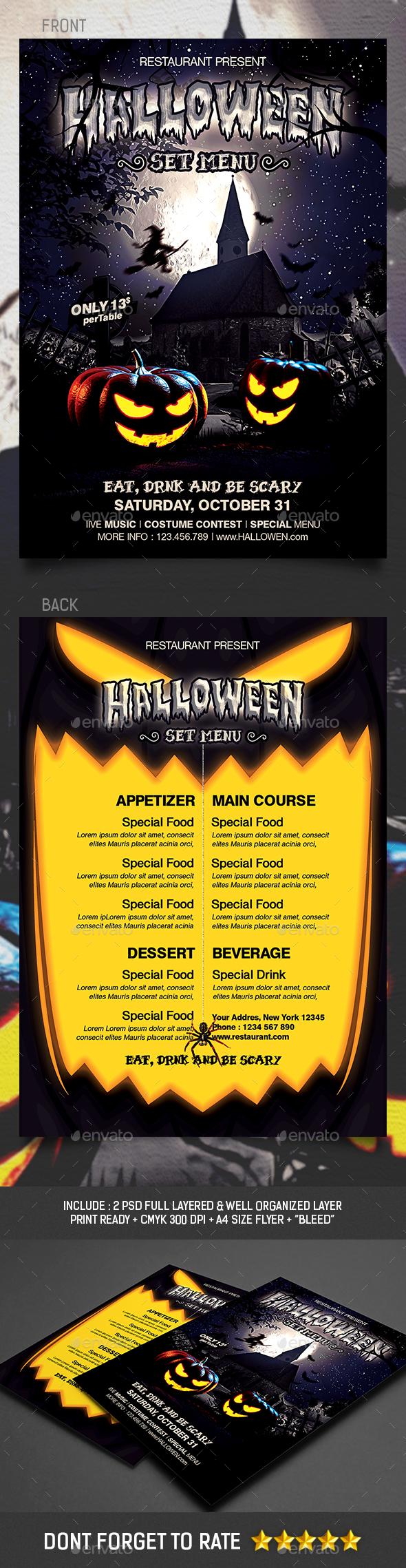 Halloween Set Menu Templates - Food Menus Print Templates