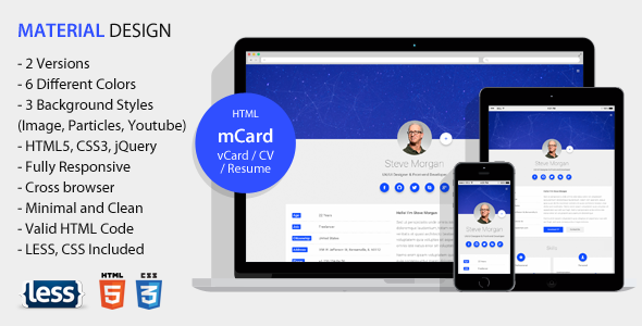 mCard – Material vCard / CV / Resume / Personal Template