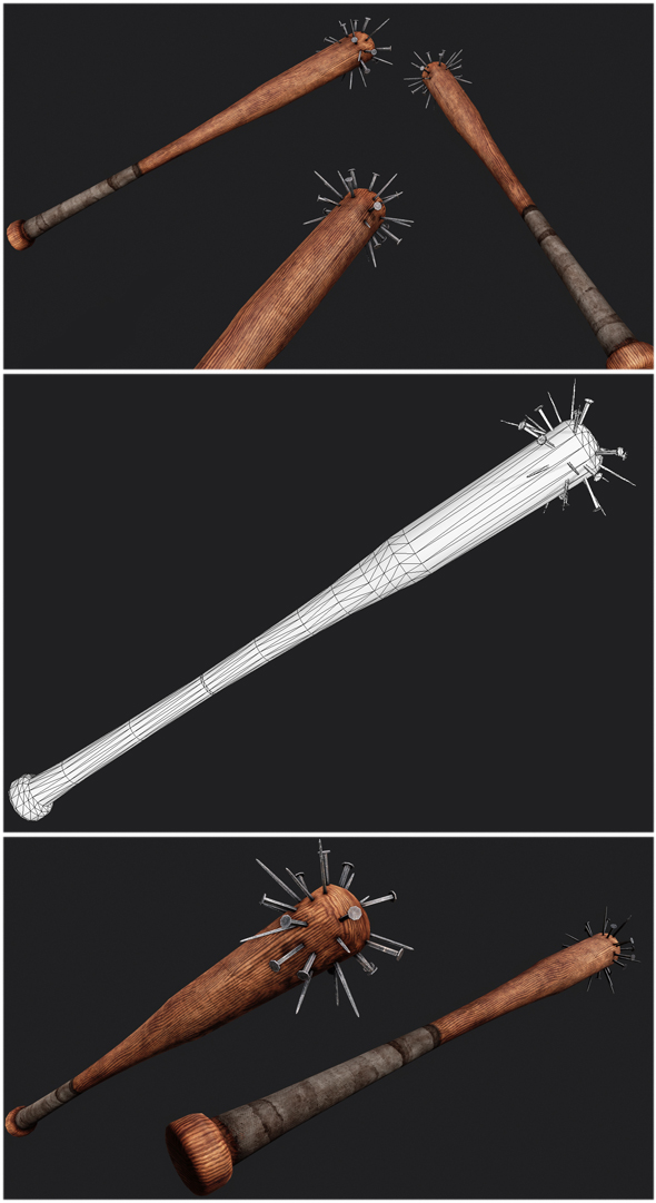 Baseball Bat Weapon 03 - 3DOcean Item for Sale