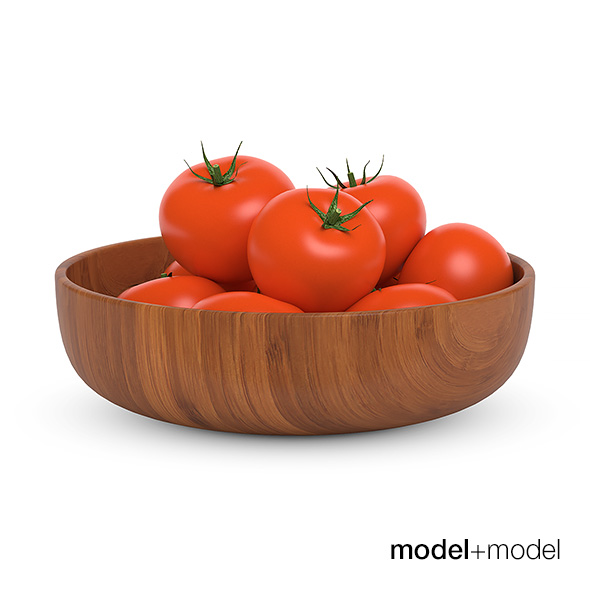 Tomatoes in a wooden bowl - 3DOcean Item for Sale