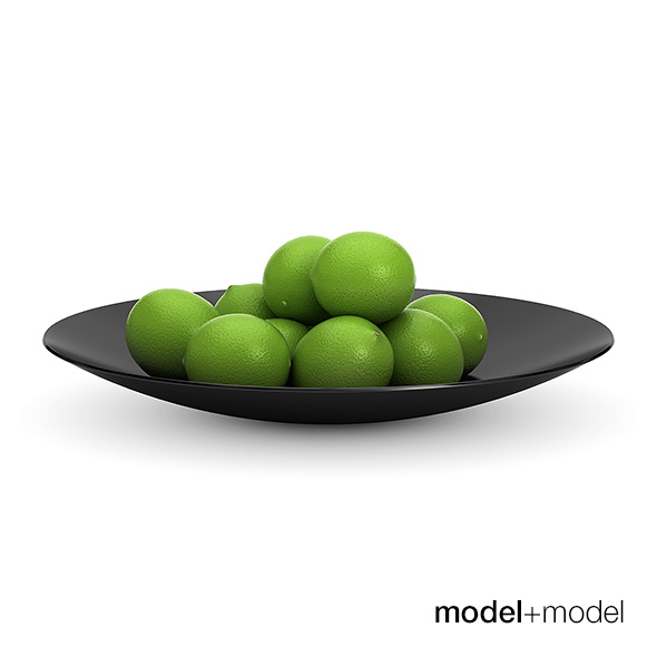 Limes in a black metal bowl - 3DOcean Item for Sale