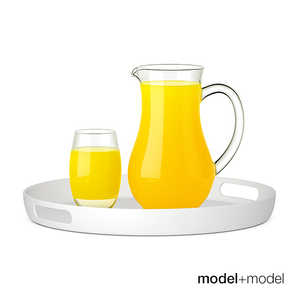Pitcher and glass of orange juice - 3DOcean Item for Sale