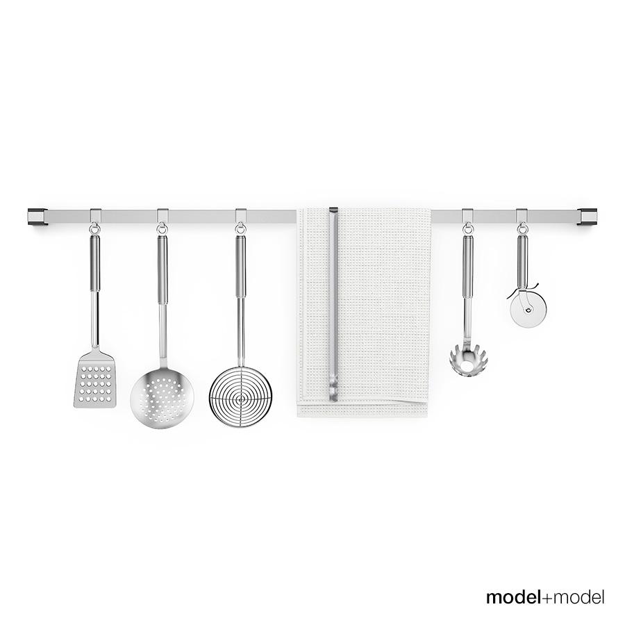 Kitchen tools on rail