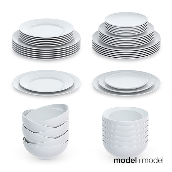 Set of round plates - 3DOcean Item for Sale
