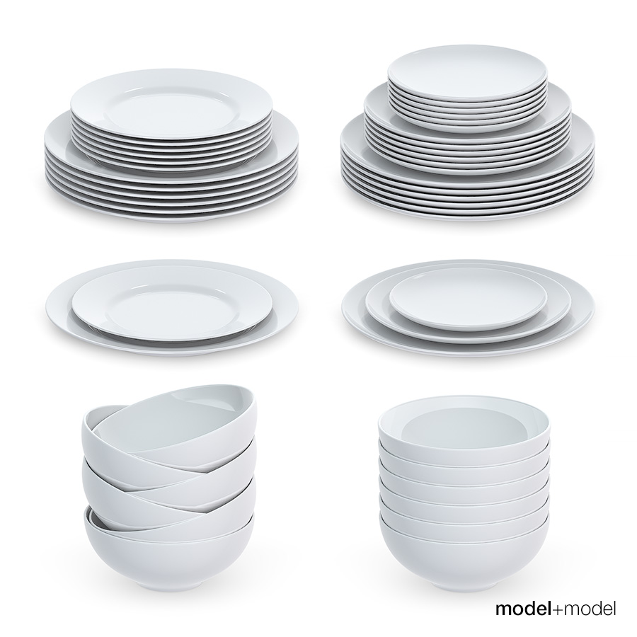 Set of round plates