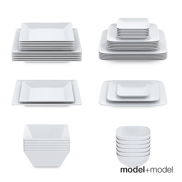 Set of square plates - 3DOcean Item for Sale