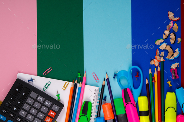 School or office stationery on colorful background. Back to . Frame, copy space. Top view. supplies - Stock Photo - Images