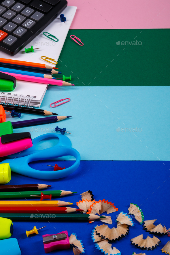 School or office stationery on colorful background. - Stock Photo - Images