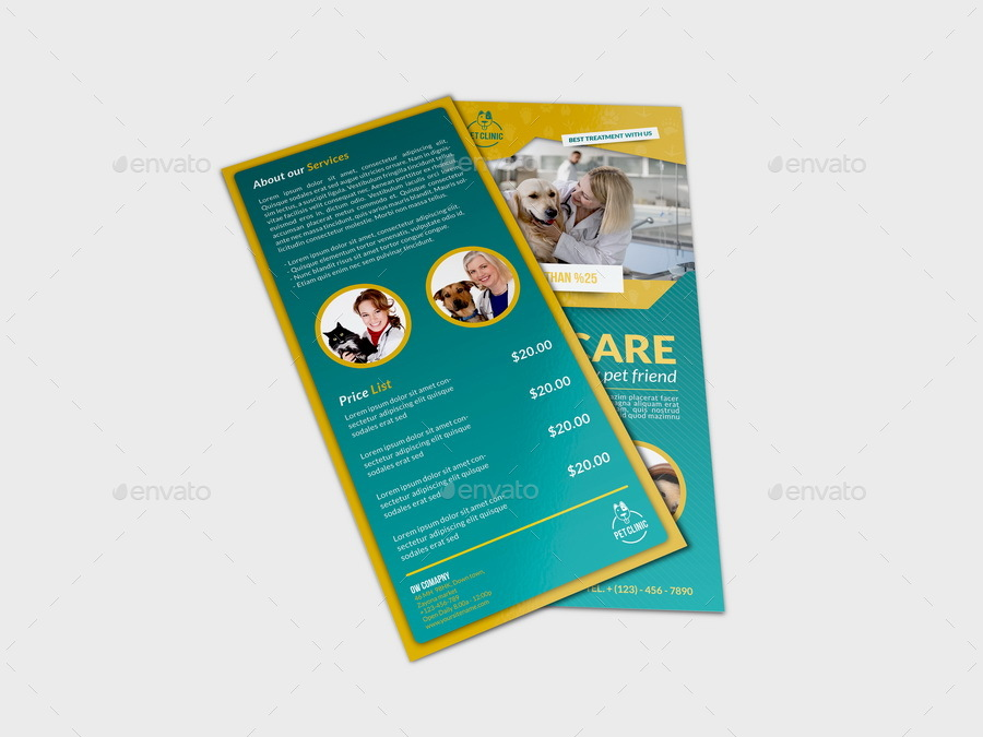Veterinarian Clinic Dl Flyer Template By Owpictures Graphicriver