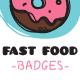 Funny Doodle Fast Food Badges - GraphicRiver Item for Sale