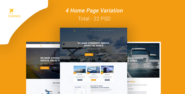 Carries Transportation and Logistics PSD Template - Business Corporate