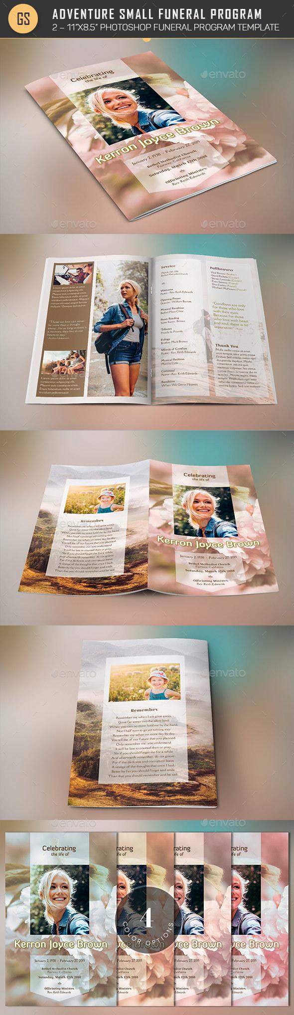 Adventure Small Funeral Program Template - Informational Brochures