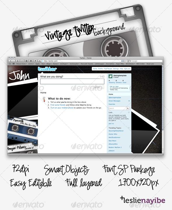 Vintage Twitter Background - Miscellaneous Web Elements