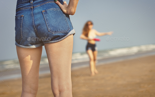 Girls Beach Summer Holiday Vacation Togetherness Concept - Stock Photo - Images