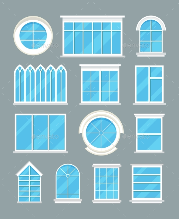 Glass Home Windows Types Vector Flat Icons By Microvone