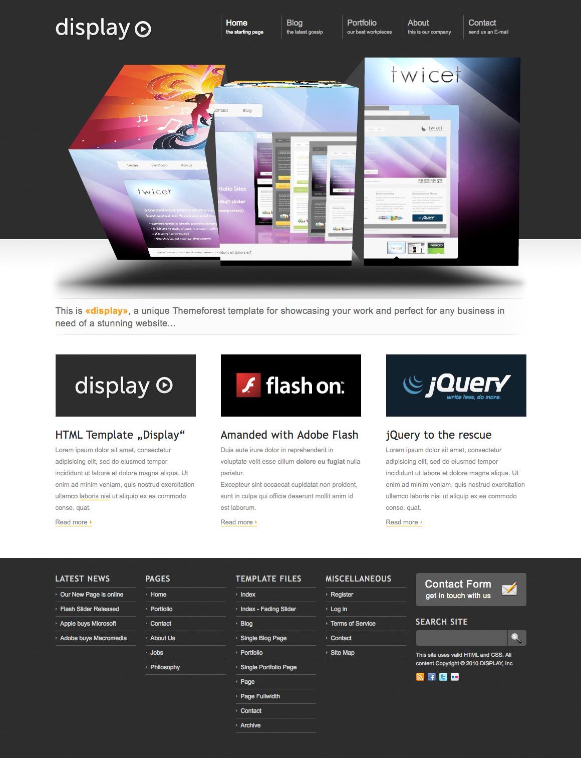 display 3 in 1 business portfolio html theme by kriesi themeforest. Black Bedroom Furniture Sets. Home Design Ideas