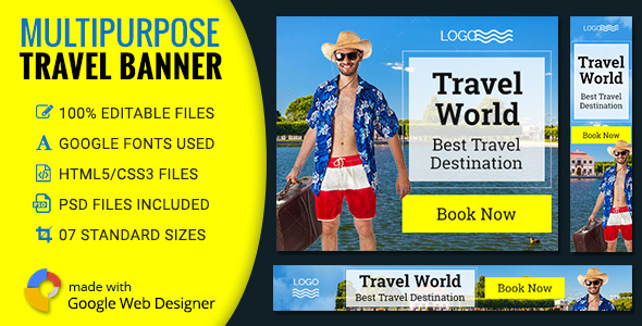 GWD | Tour & Travel HTML5 Banners - 07 Sizes - CodeCanyon Item for Sale