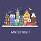 Europe City Christmas Night Street - GraphicRiver Item for Sale