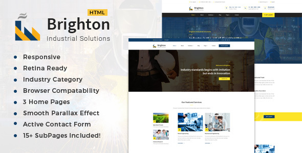 Brighton-Industry - Factory & Industrial Business Template - Business Corporate